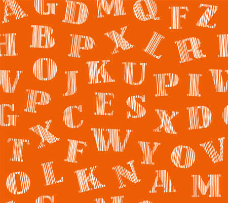 English letters, shading white, seamless background, orange, vector. English alphabet. Hatching a white pencil on the orange box. Simulation. Vector decorative background.