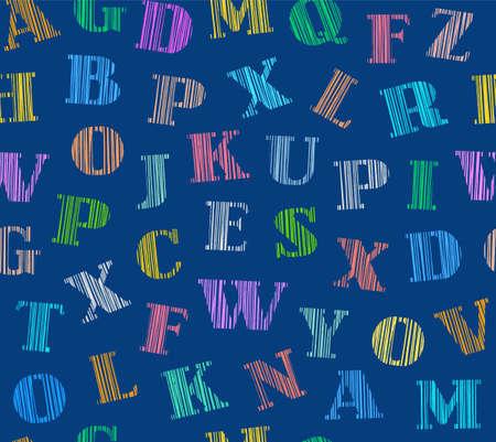 Engelse letters, naadloos patroon, kleur, blauw, arcering, vector. Engelse alfabet. Shading met kleurpotloden op een blauw veld. Simulatie. Vector decoratieve achtergrond. Stock Illustratie