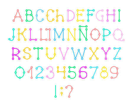 Spanish alphabet, font, layout, color, vector. Capital letters and numbers Spanish alphabet. Vector font. Scheme. Connection. Colored letters on a white background.