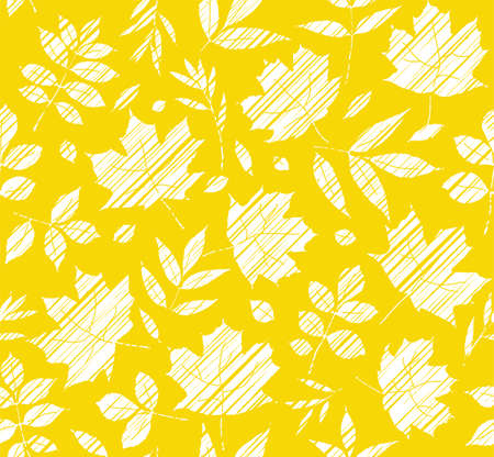 The leaves of the trees, seamless background, yellow, shading, vector. White leaves on a yellow field. Vector color pattern. The leaves are shaded diagonally and white pencil. Simulation.