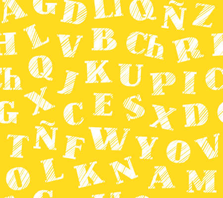 Spanish alphabet, seamless pattern, shading pencil, yellow, vector. Spanish alphabet. Hatching a white pencil on a yellow field. Simulation. Vector decorative background. Illustration