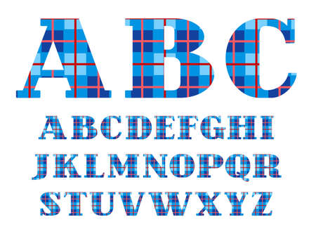 English alphabet, font, plaid, blue, vector. Capital letters of the English alphabet. Letters with serifs. Checkered vector font. Blue squares and thin red line. 版權商用圖片 - 93484356