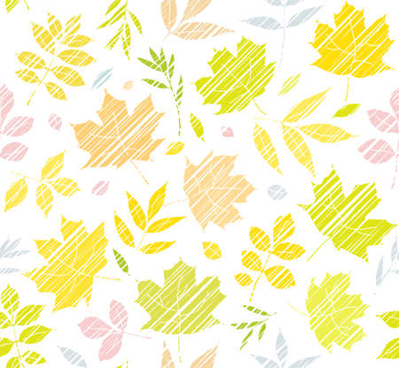The leaves of the trees, seamless background, white, color, shading, vector. Yellow, green and pink leaves on a white field. Vector color pattern. The leaves are diagonally shaded with colored pencils. Simulation.