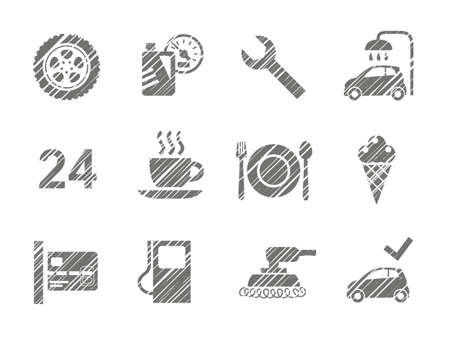 Car service icons, shading pencil, gray, vector. Repair and maintenance of the car. Related products. Monochrome icons. The gray shading with a pencil. Simulation. Vector clip art.