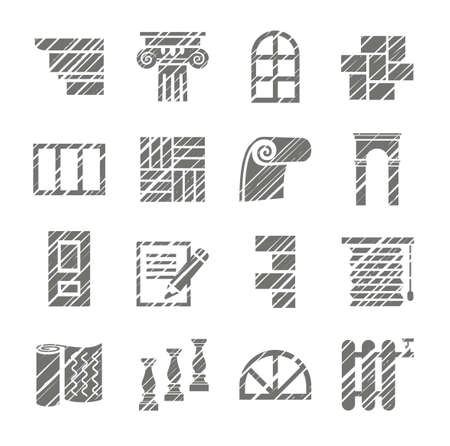 Construction and finishing materials, icons, shading pencil, vector. Finishing of buildings and premises. Construction icons. Vector monochrome picture. Hatch gray pencil simulation.