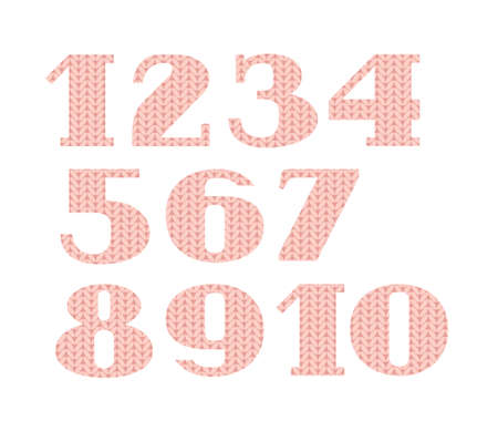 Numbers, knitted font, vector, pink. Figures with serifs. Vector font. Simulation of knitted pink fabric. Vector picture. Çizim