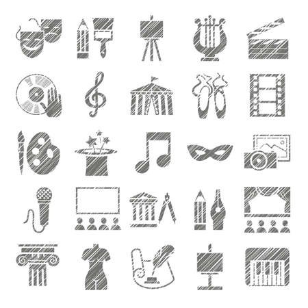 Culture and art, icons, shading pencil, gray, vector. Leisure and cultural centers. Cultural events and the attributes of art. Monochrome icons. Hatch gray pencil on a white field. Simulation. Vector picture.