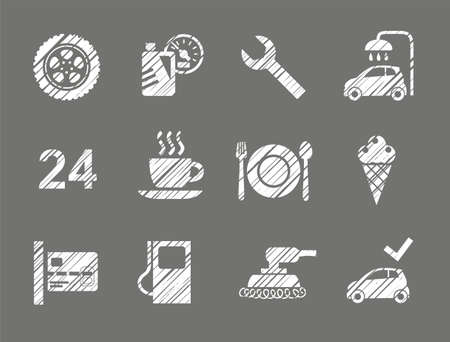 Car service icons in shading pencil Vector clip art. Stock Illustratie