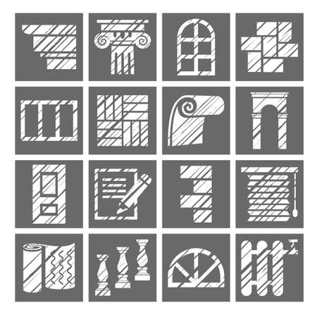 Construction and finishing materials icons