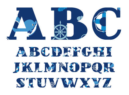 Font sea with dolphins, the English alphabet, vector. Capital letters of the English alphabet. Nautical theme. Blue letters with dolphins. The attributes of sea travel. Vector font. Иллюстрация
