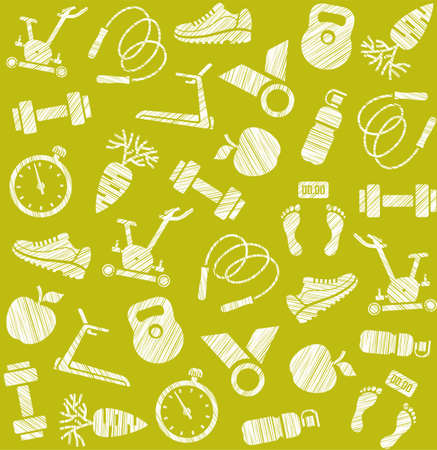 Fitness, sports training, seamless pattern, shading pencil, yellow-green, vector. Fitness and a healthy lifestyle. Hatching a white pencil on a yellow-green field. Illustration