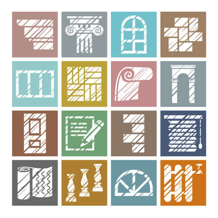 Construction and finishing materials, icons, shading pencil, white, color, vector. Finishing of buildings and premises. Construction icons. Flat, square pictures. Hatching a white pencil on a colored field. Imitation.