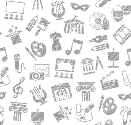 Culture and art, seamless pattern, shading pencil, white, vector. Leisure and cultural activities. Cultural events and the attributes of art. Gray icons on a white field. Hatching with a white pencil. Texture simulation. Vector picture.