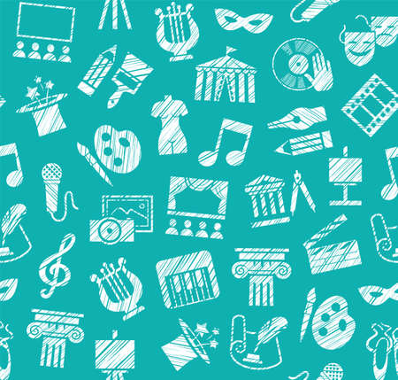 Culture and art, seamless pattern, shading pencil, blue, vector. Leisure and cultural activities. Cultural events and the attributes of art. White icons on the turquoise field. Hatching with a white pencil. Texture simulation. Vector picture. Ilustração