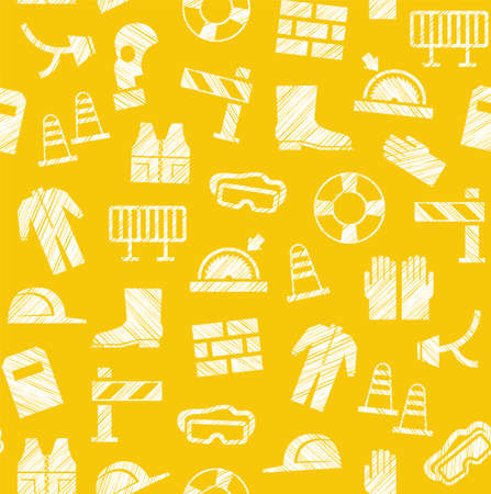 Safety at work, labor protection, seamless pattern, yellow, pencil hatching, vector. Special clothing and means of protection. Safety on the job. Hatching with a white pencil on the yellow field. Imitation. Vector pattern.