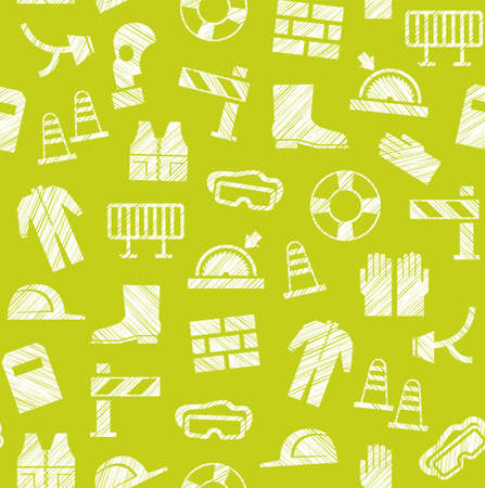 Safety at work, labor protection, seamless pattern, yellow-green, shading with pencil, vector. Special clothing and means of protection. Safety on the job. Hatching with a white pencil on the yellow-green field. Imitation. Vector pattern.