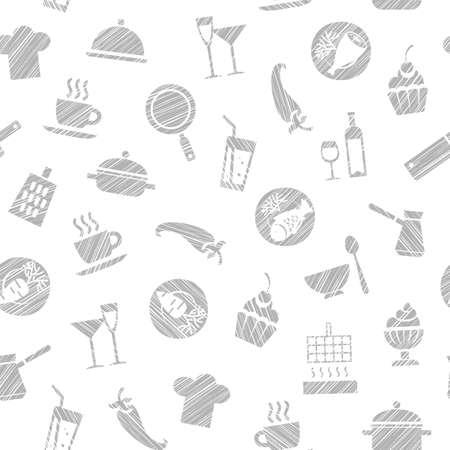 Cooking outline pattern illustration design