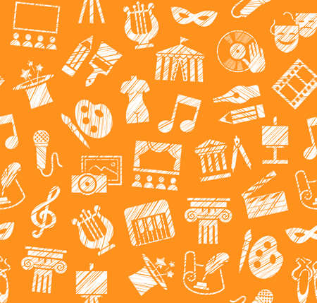 Culture and art element seamless pattern. Leisure and cultural activities. Cultural events and the attributes of art. White icons on the orange box. Hatching with a white pencil. Texture simulation. Vector picture.