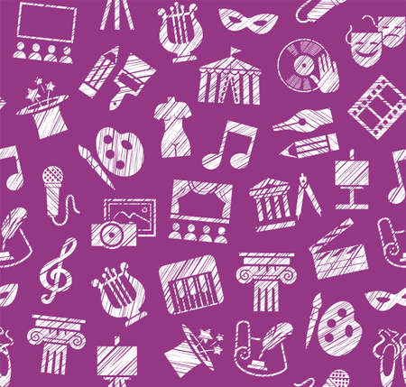 Culture and art, seamless pattern, shading, pencil, purple, vector. Leisure and cultural activities. Cultural events and the attributes of art. White icons on the purple field. Hatching with a white pencil. Texture simulation. Vector picture.