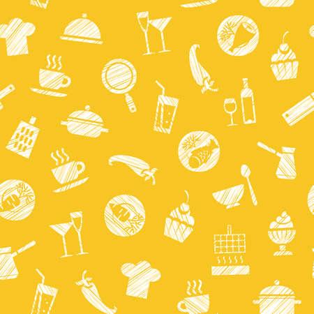 Koken, naadloos geel patroon, vector. Gerechten en eten. Uitkomen met een wit potlood op het gele veld. Imitatie. Vector patroon