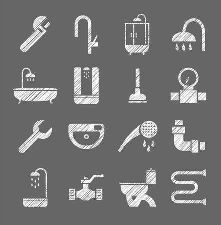 Plumbing and running water  icons, white  shading with pencil. Vector illustration.