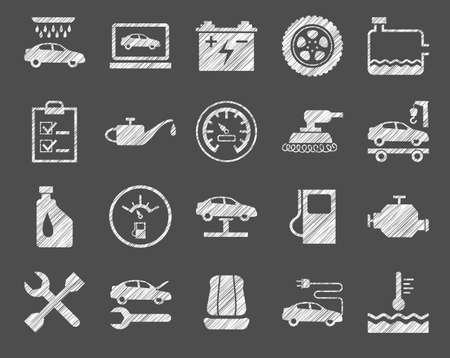 Repair and maintenance of the car, white icons, shading pencil, vector.  One-color, flat icons. Hatching with a white pencil on a gray field.