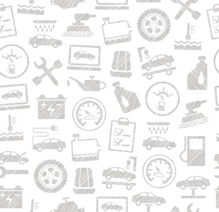 Repair and car service, seamless background, white, shading with pencil, vector.