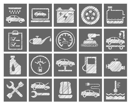 Car repair and maintenance, gray icons, pencil hatching, vector. Square, flat icons. Hatching with a white pencil on a gray field. Illustration
