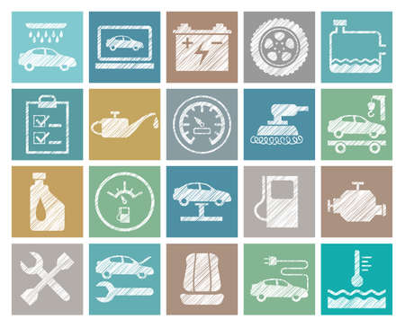 Car repair and maintenance, colored icons, pencil hatching, vector. The automotive service. Square, flat icons. Hatching with a white pencil on the color field. Imitation.