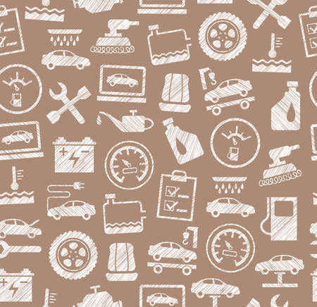 Car repair and maintenance seamless pattern, brown, pencil hatching illustration. The automotive service. One-color, flat pattern. Hatching with a white pencil on a brown field. Ilustracja