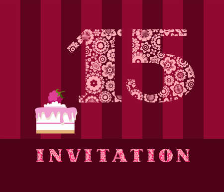 Invitation card, 15 years with color cake. The invitation to the birthday party, wedding anniversary, color card. Cake with raspberries. Illustration