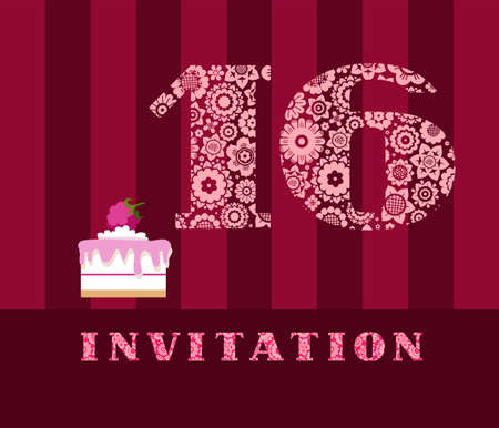 Invitation for 16 years old celebration vector illustration
