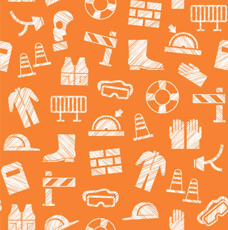 Safety at work, labor protection, seamless pattern, orange, pencil hatching, vector. Special clothing and means of protection. Safety on the job. Hatching with a white pencil on the orange field. Imitation. Vector pattern. Illustration