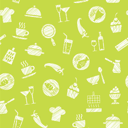 Cooking elements seamless pattern