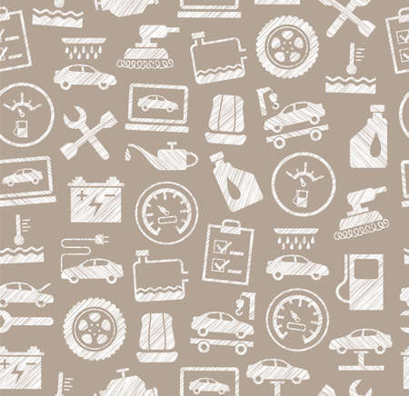 Car repair and maintenance seamless pattern Vettoriali