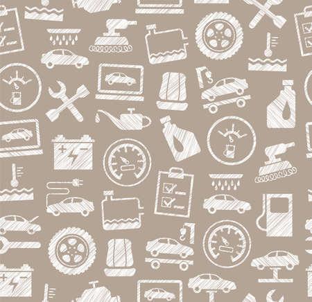 Car repair and maintenance seamless pattern Illustration