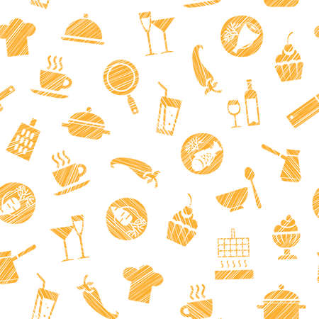 Cooking, seamless pattern, white, orange, vector. Dishes and food. Hatching with an orange pencil on a white field. Imitation. Vector pattern. Illustration