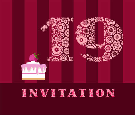 Invitation card template vector illustration with the number 19. For anniversaries or birthday