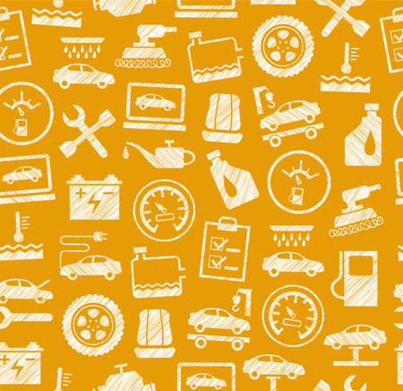 Car repair and maintenance concept seamless pattern vector illustration Ilustracja