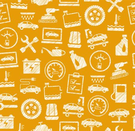 Car repair and maintenance concept seamless pattern vector illustration Illustration
