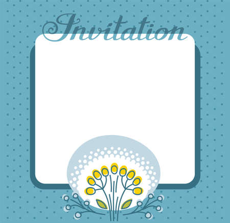 Invitation, flower and berries, dark blue, vector. Color, flat card. Twigs with yellow and blue berries on a blue background. Vector picture. The invitation to the event. The inscription in Russian.