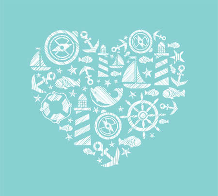Sea heart background, light blue, vector. Dolphin, fish and attributes sea travel. White icons in the shape of a heart. Vector picture. Hatching with a white pencil on a light blue field. Imitation. Stock Illustratie