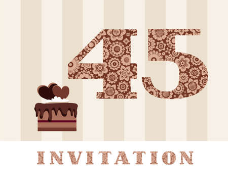 Invitation card template vector illustration with the number 45. For anniversaries or birthday