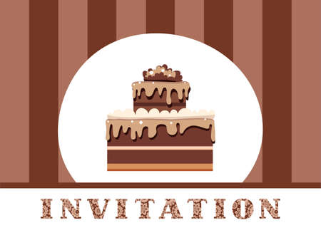 Chocolate cake with chocolate cream on a striped background.