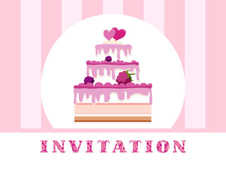 Cake with berries and two hearts on pink striped background. Vector picture. Stock Illustratie