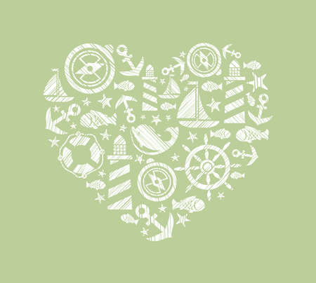 Sea heart background, green, vector. Dolphin, fish and attributes sea travel. White icons in the shape of a heart. Vector picture. Hatching with a white pencil on a green field. Imitation. Illustration