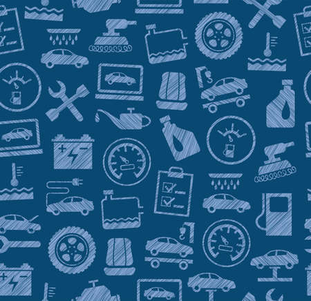 Car repair and maintenance, seamless pattern, blue, colored, pencil hatching, vector. The automotive service. Color, flat pattern. Hatching with a blue pencil on a blue field. Imitation.