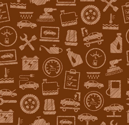 Car repair and maintenance, seamless pattern, brown, colored, pencil hatching, vector. The automotive service. Color, flat pattern. Hatching with a brown pencil on a brown field. Imitation. Illustration