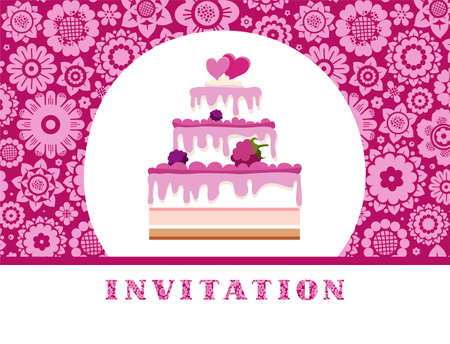 The invitation to the feast, berry cake, floral background, purple, vector. Invitation for birthday, wedding. A holiday, a family celebration. Cake with berries and two hearts on a floral background. Vector picture. Pink flat flowers on a crimson fie
