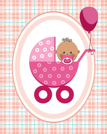 Baby, girl, Africa, greeting card, pink checkered background, vector. A little girl in a pink stroller. A pink balloon is tied to the stroller. Color, flat card. Congratulation. Pink squares on a white field. Checkered background.